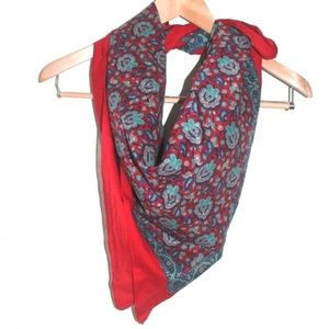 Accessories - Red w/Blue, Turquoise, Beige Paisley Design Scarf